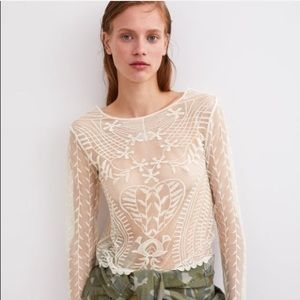 Zara Lace Heart Embroidered Long Sleeve Blouse